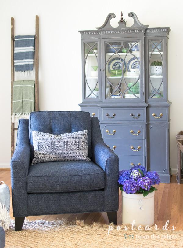 indigo blue accent chair