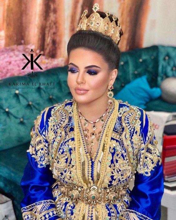caftan bleu pour mariée sur mesure paris