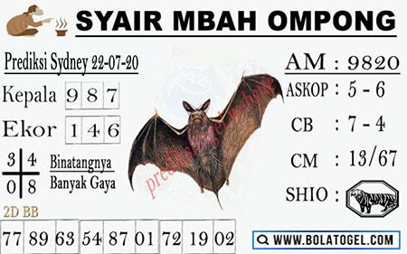 Syair Mbah Ompong Sydney Rabu 22 Juli 2020