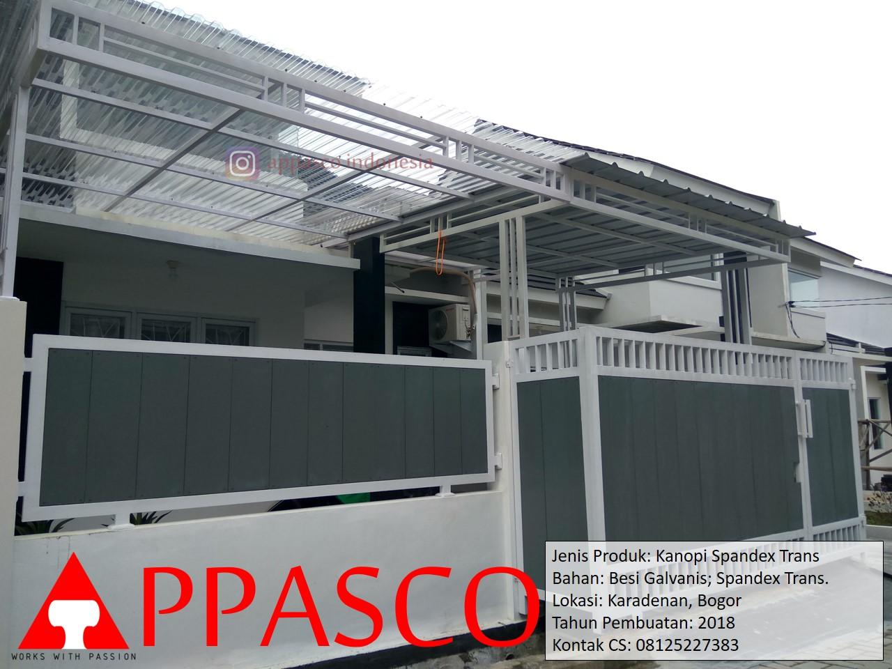 Kanopi Spandek Bening Transparan dengan Besi Galvanis di Karadenan Bogor