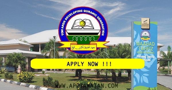 Pemohonan sebagai Guru DG 41 yang di Maahad Tahfiz Negeri Pahang