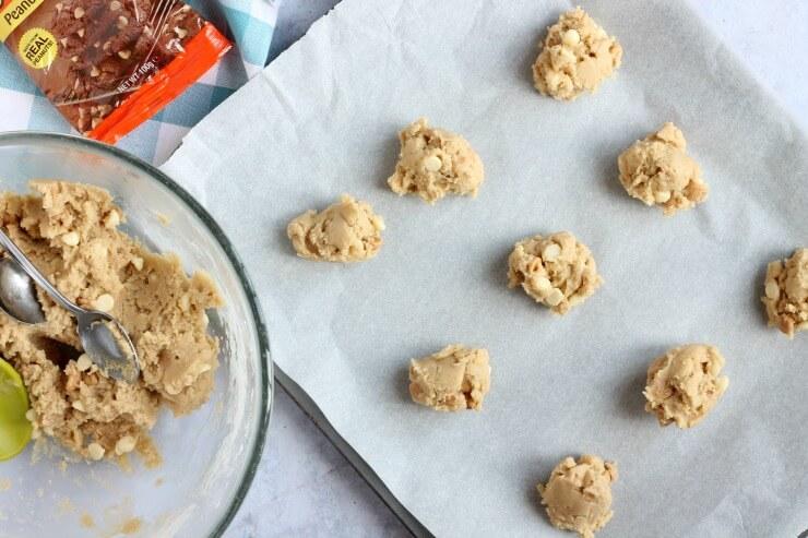 Peanut Butter Chip cookies on baking sheet