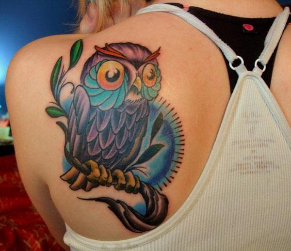 colorful owl shoulder tattoo