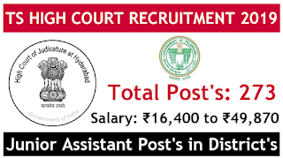Telangana high court jobs 2019 apply now