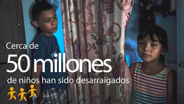 Casi 50 millones de niños viven lejos de sus hogares, Unicef