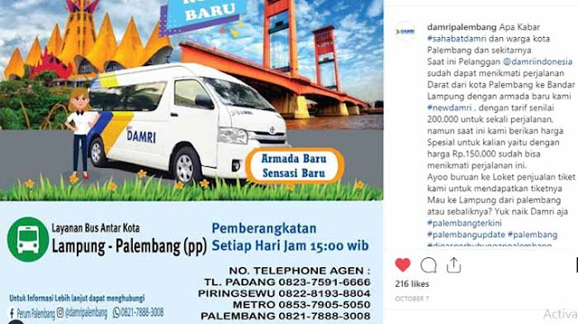 Harga Tiket Damri Lampung Palembang 2020 dan Jadwalnya