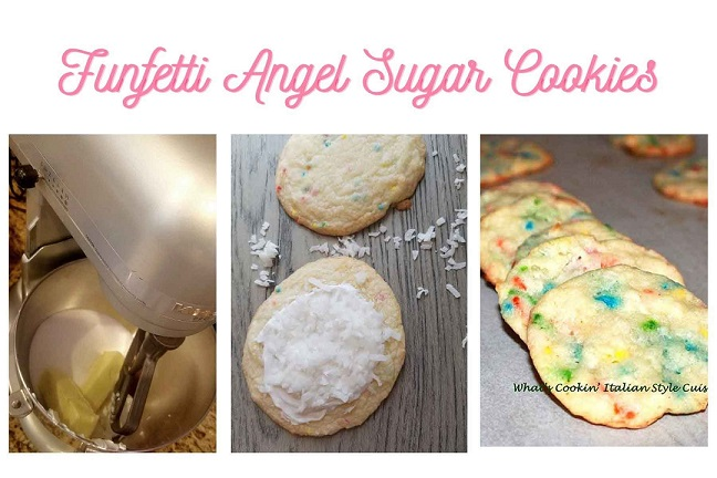 a collage of funfetti sugar cookies