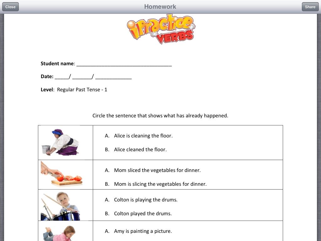 Verb Homework Sheets