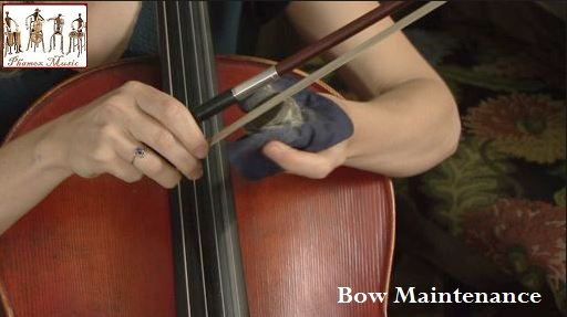 Rosin the bow regularly. For students it is probably sufficient to rosin the bow once a week. Too much rosin will produce a harsh tone and cause an excessive build-up of white rosin powder on the instrument.