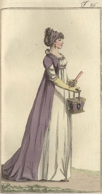 Purple open robe over white dress with purple hair bands and reticule, 1797.