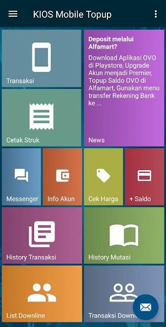 contoh tampilan Aplikasi Android KIOS Mobile Topup