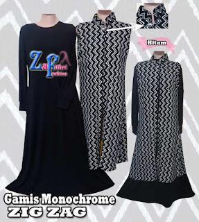 Gamis Modis Motif Monochrome Zig Zag Termurah