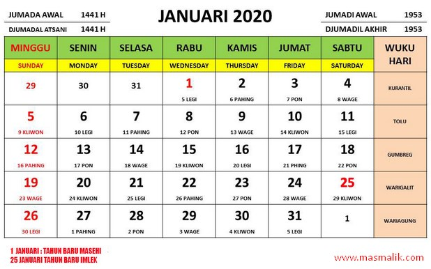 Kalender Tahun 2020, januari