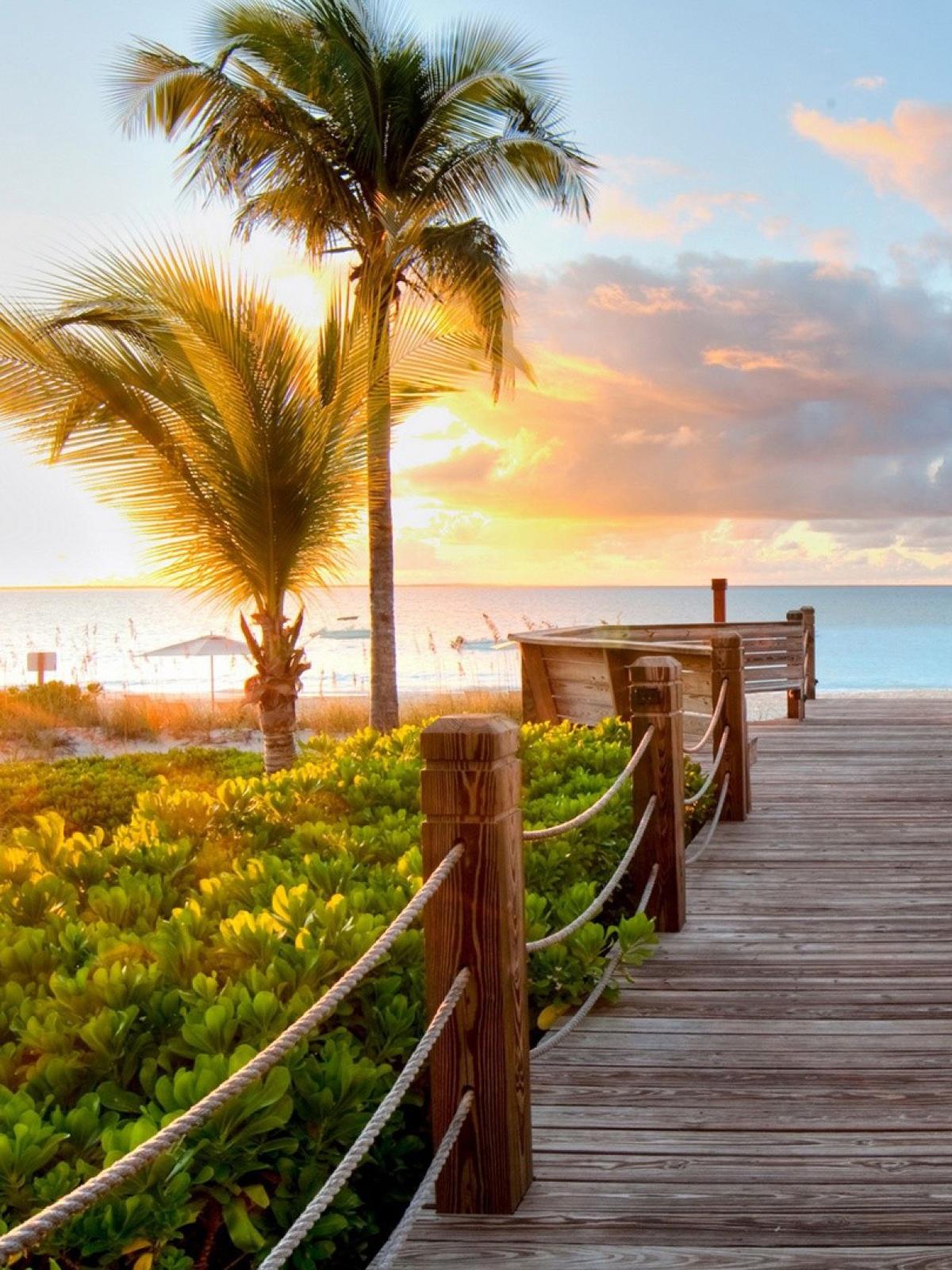 Wallpaper Sunset Pantai Di Pagi Hari
