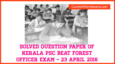 Answer Key of PSC Beat Forest Officer Exam