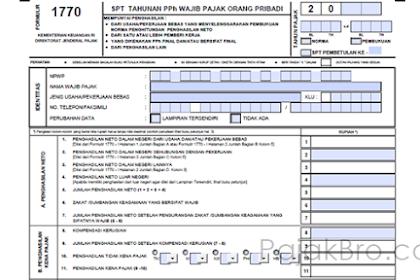 Formulir SPT Tahunan Pribadi 1770, 1770S, dan 1770SS Excel Atau PDF Lengkap