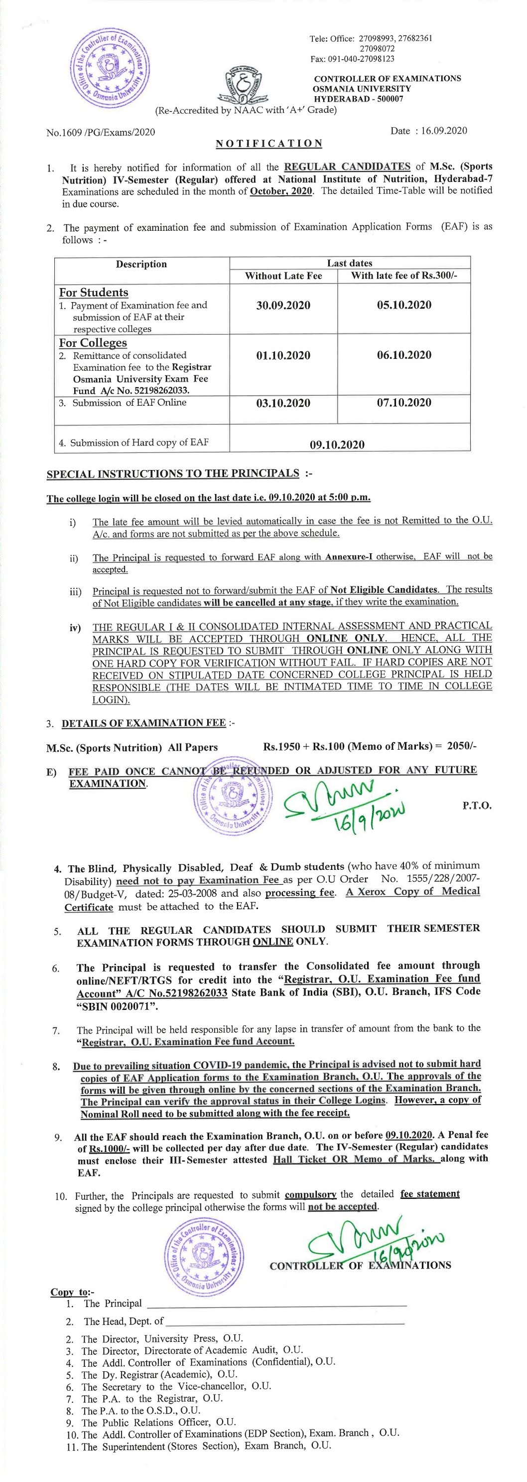 Osmania University M.Sc (Sports Nutrition) 4th Sem Oct 2020 Exam Fee Notification