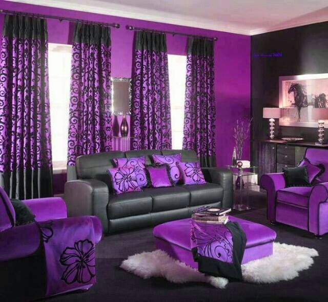 Black Purple Living Rooms Design Pictures Remodel Decor and Ideas