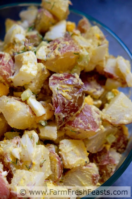 A fresh and pretty side dish for a Spring table, this potato salad combines chive blossoms and hard cooked eggs with red skin potatoes and tangy mustard.