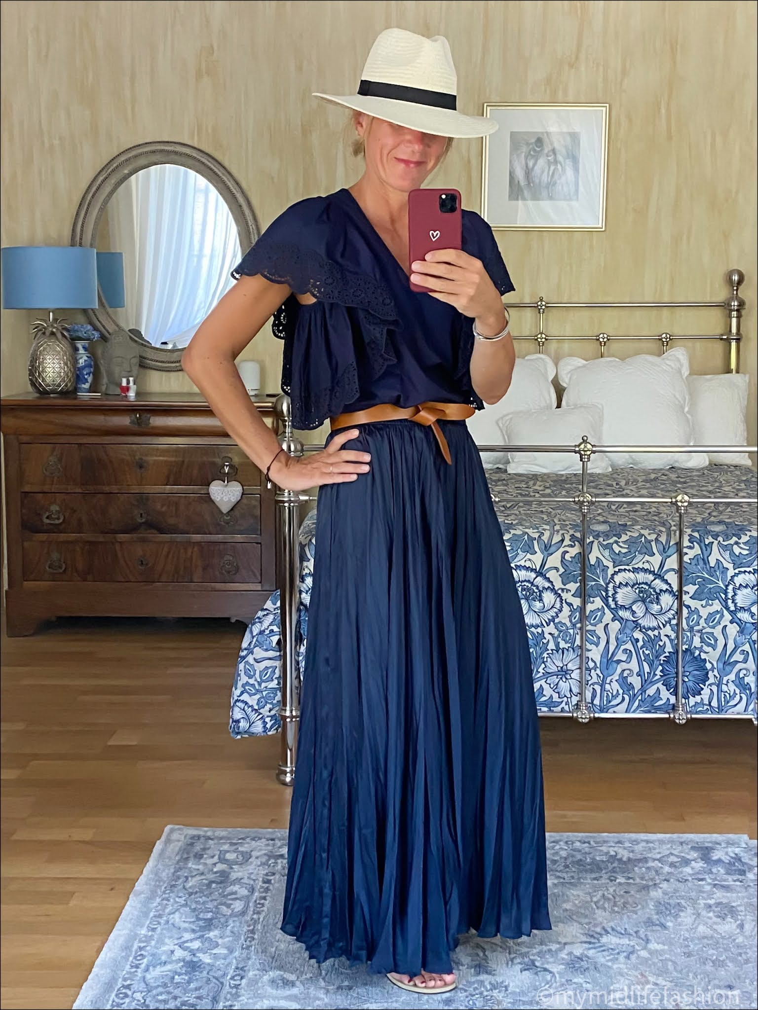 my midlife fashion, Zara Panama hat, see by Chloe broderie anglaise blouse, Isabel Marant lecce belt, Zara satin maxi skirt, havaianas gold slim fit flip flops