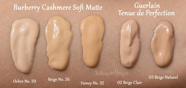 Burberry Cashmere Soft Matte Foundation Swatches Ochre 20 Beige 26 Honey 32