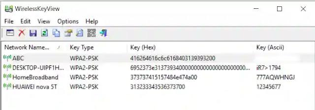 برنامج معرفة باسورد الواى فاي المخزنة على الكمبيوتر WirelessKeyView