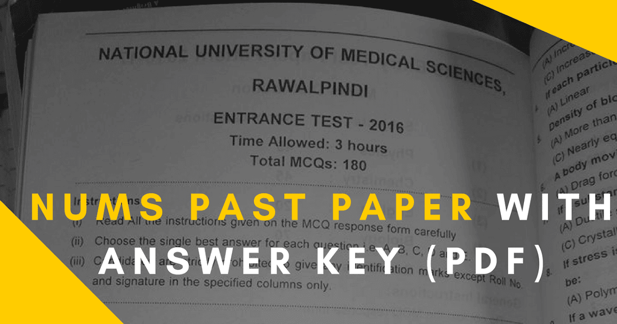 NUMS Past Paper Latest with Answer Key (PDF and View Online