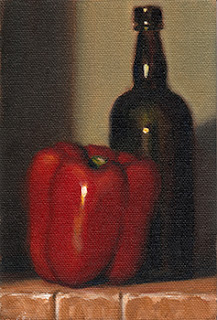 Oil painting of a red pepper beside a black glass whisky bottle.