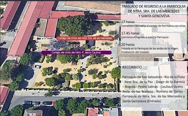 Horario e Itinerario Traslado de los titulares de la Hermandad de Santa Genoveva en Sevilla