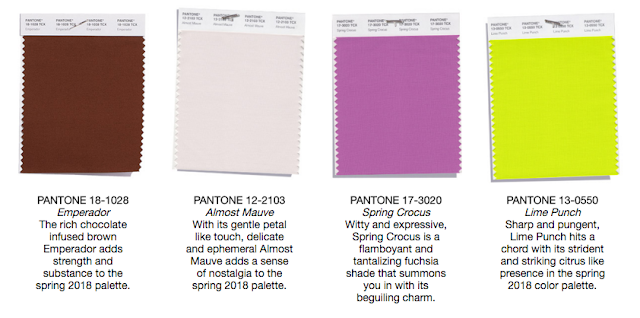 Pantone Spring 2018 Top 12 Color Palette