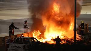 French F1 driver Romain Grosjean survives fireball after huge crash on Sunday