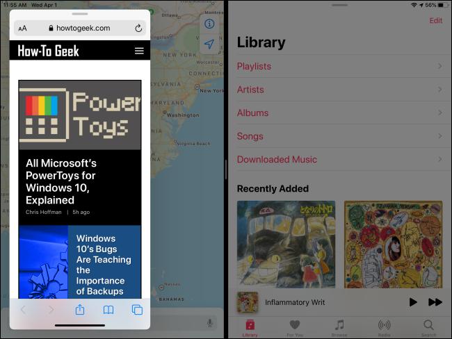 استخدام Slide Over و Split View في نفس الوقت على iPad