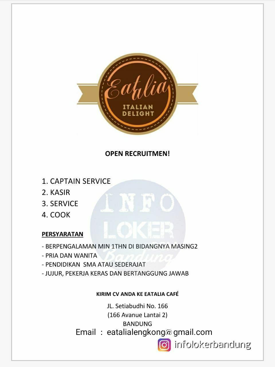 Lowongan Kerja Eatalia Cafe Setiabudhi Bandung Maret 2018