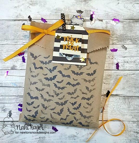 Trick or Treat Bag & Tag by Nakaba Rager | Newton's Boo-tiful Night Stamp Set, Halloween Trio Die Set, and Flying Bats Stencil by Newton's Nook Designs #newtonsnook #handmade #halloween