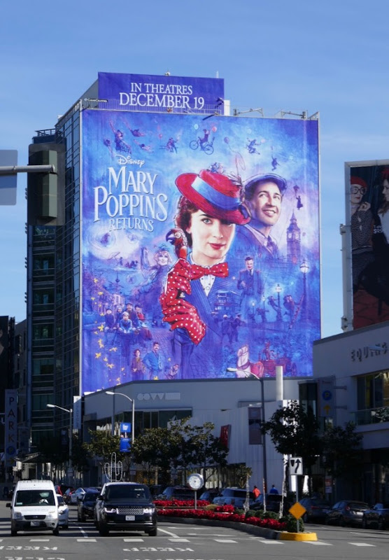 Giant Mary Poppins Returns billboard Sunset Strip