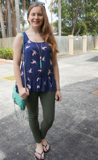 nanvy bird print peplum tank with olive skinny jeans and turquoise accessories | away from blue