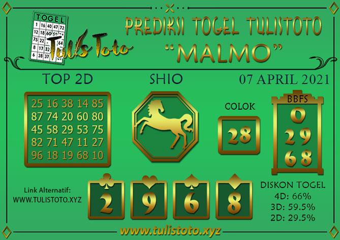 Prediksi Togel MALMO TULISTOTO 07 APRIL 2021