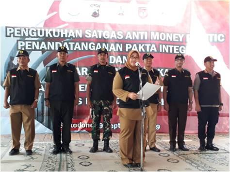 Pengukuhan Satgas Anti Money Politic Pilkades Sukodono