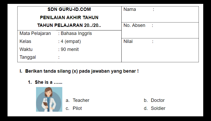 gambar soal pat bahasa inggris kelas 4 sd 2021
