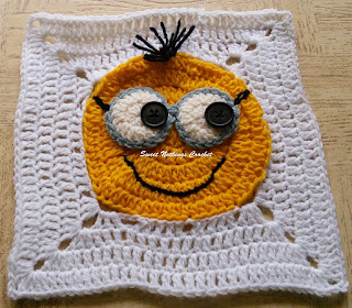 free crochet pattern, free crochet granny square pattern, free crochet mitered square pattern, free crochet minion granny mitered square pattern, free crochet minion motif, free crochet girl minion, Oswal Cashmilon, Project Chemo Crochet, Pradhan stores, donation ideas, cancer projects,