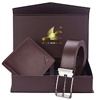 Hornbull Gift Set for Men's - Brown Wallet and Brown Belt
