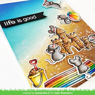 Life is Good Card by Samantha Mann, Lawn Fawnatics Challenge, Lawn Fawn, Distress Inks, Ink Blending, Handmade Cards, Card Making, Summer, Beach #lawnfawnatics #lawnfawn #distressinks #Inkblending #handmadecards #cardmaking #summer #beach
