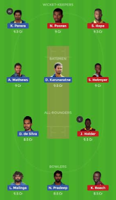 SL vs WI dream 11 team | WI vs SL