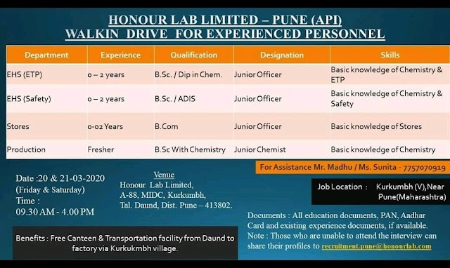 Honour Labs | Walk-in for Production-WH-EHS at Pune on 20&21 Mar 2020