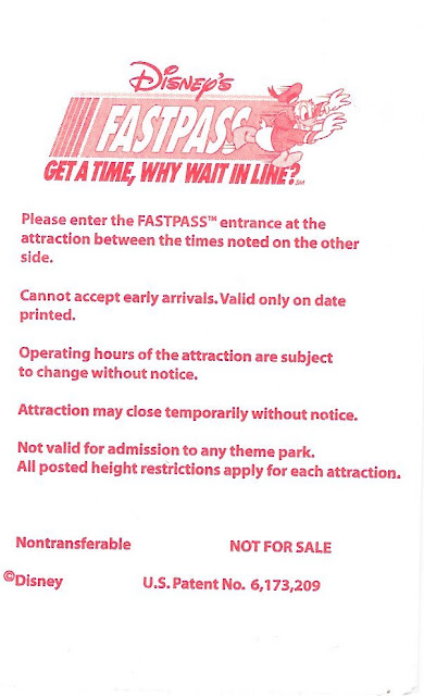 Fastpass Disney World Back Side
