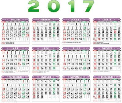 Download Kalender 2017 CDR Vektor Lengkap Hijriyah dan Libur Nasional
