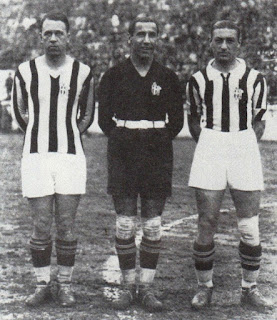 Virginio Rosetta (left), Combi and Umberto Caligaris formed a redoubtable combination for club and country