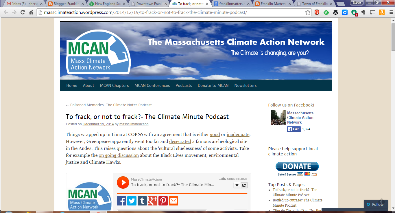 screen grab of the Mass Climate Action Network page