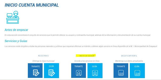 Escoger la opción, Iniciar sesión -  Trámite, e ingresar con su usuario (Cédula o RUC) y la contraseña que tiene registrada en el portal del Municipio de Guayaquil