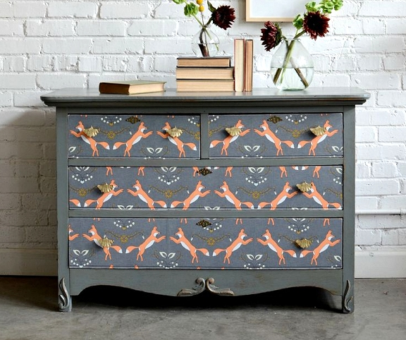 How to decoupage wallpaper onto dressers from Spoonflower blog